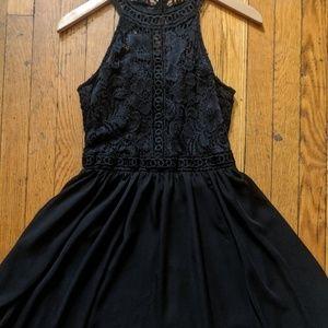 Black Halter Embroidered Dress